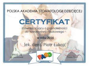 Certyfikat Polska Akademia Stomatologii Dziecięcej