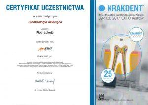 Certyfikat stomatologia dziecięca Piotr Łukojć