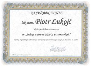 Zaświadczenie sedacja wziewna Piotr Łukojć